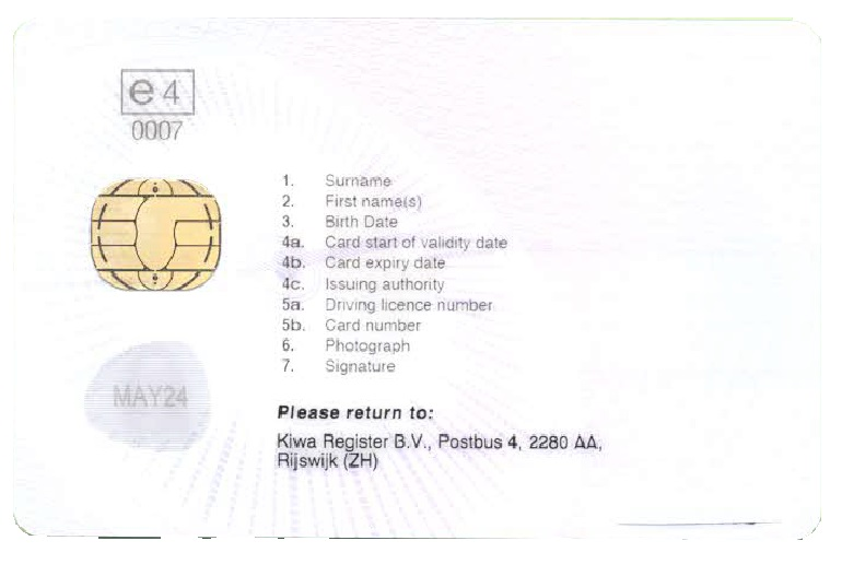 UK Driver Card (back)