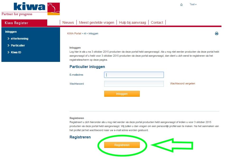 Registreren voor een particulier account